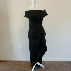 Vince Camuto Off the Shoulder Crepe Gown, Black 8